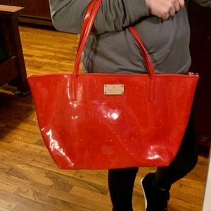 Like New Kate Spade Red Patent Leather Tote